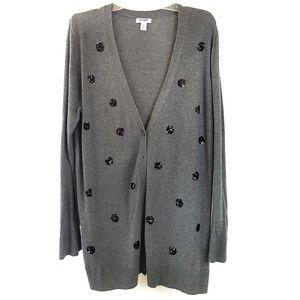OLD NAVY gray polka dot cardigan